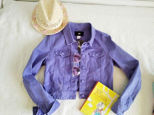 H&M kurtka jeansowa fiolet 164