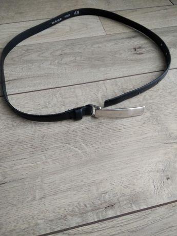 Cienki czarny pasek damski srebrna klamerka H&M