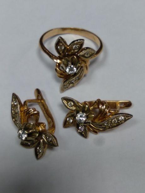 Серьги кольцо золотой гарнитур советского периода