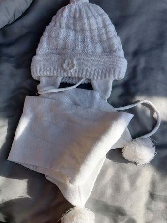 Шапка, шарф. Комплект на новорождённого, девочка, белый