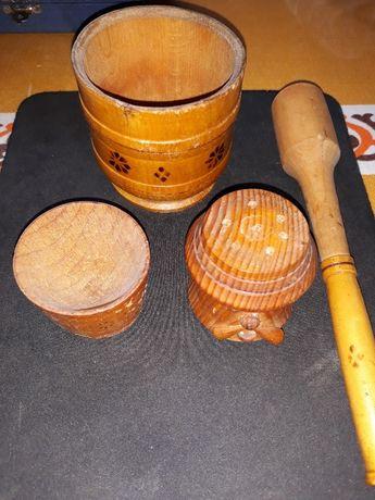 Ступка деревянная с пестиком , солянка, перечница -набор ,СССР
