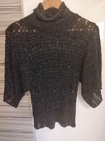 Sweter damski rozm. S/M czarno srebrny