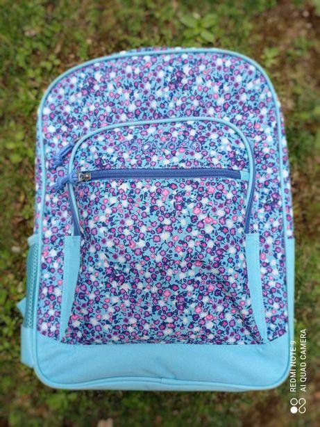 Mochila escolar azul com Flores