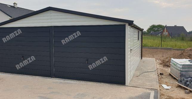 Garaż blaszany 6x6, drewnopodobny, wzmacniany, panel poziomy