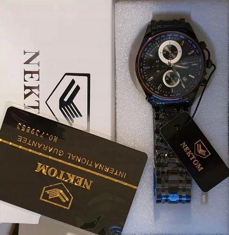 NOWY CZARNY zegarek bransoleta stal nierdzewna NEKTOM na bransolecie