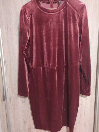 Sukienka welur plusz 44 XXL bordowa nowa