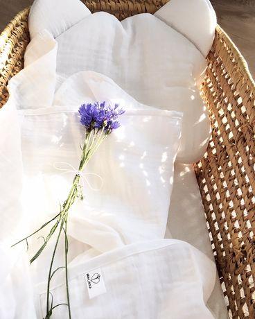 Zestaw, komplet muślin. Duży otulacz + poduszka. Handmade