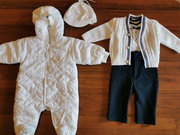 Kompletne ubranko do chrztu w rozmiarze 62 wraz z kombinezone jak nowe