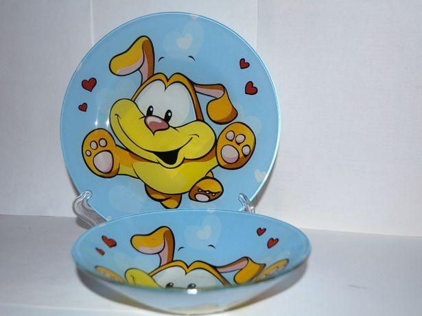Весёлый Щенок, Гадкий Утёнок -наборы детских тарелок, стекло