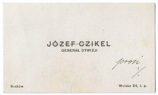 Wizytówka Generał Józef Czikel Kraków