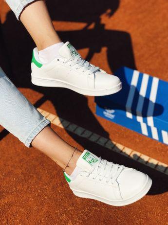 Кеды Adidas Stan Smith, ТОП Качество Адидас Стен Смит Зеленый задник