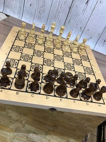 Деревянные Шахматы. Нарды комплект 3в1 Большие новые
