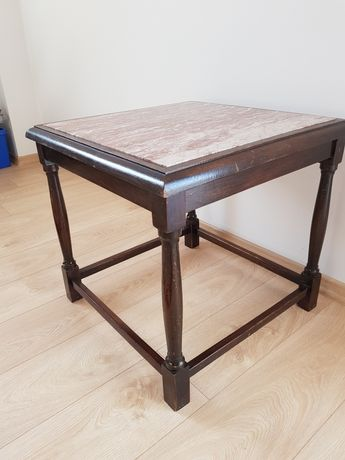Stolik marmur drewniana ława marmurowa drewno