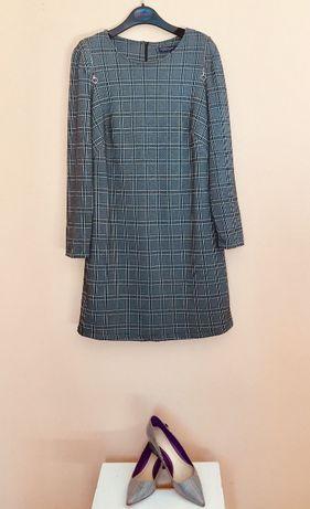 Платье VIOLETA by mango размер 48-50 вариант для офиса клетка Пролет