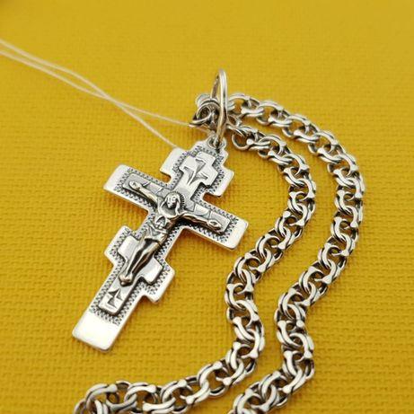 Лучшая цена! Серебряная цепочка с кулоном. Православный крестик и цепь