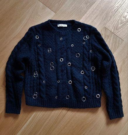 Sweter splot wełniany ZARA czarny