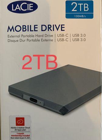 Dysk zewnętrzny LaCie Mobile Drive 2TB USB-C Szary