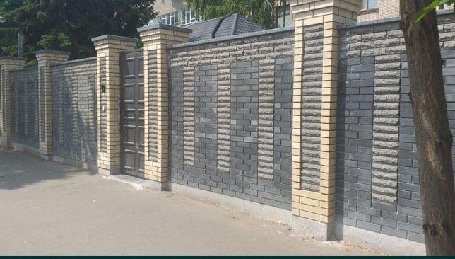 Забор из кирпича-металопрофиля