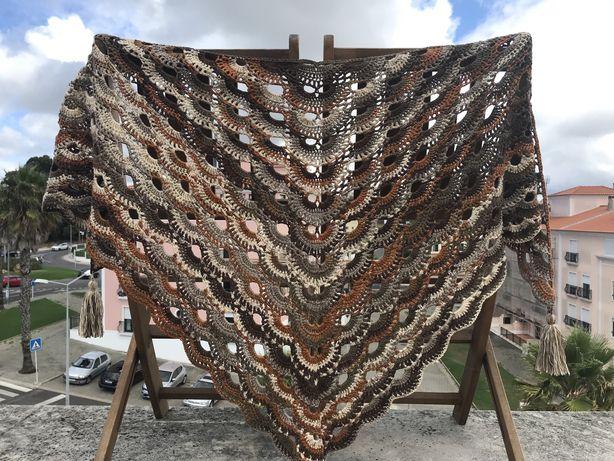 Xaile em crochet - oferta dos portes
