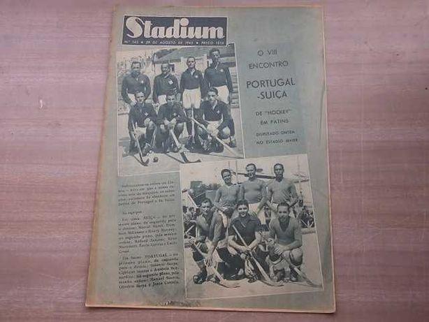 Revista STADIUM nº 143 PORTUGAL - SUIÇA em Hoquei PATINS 1945