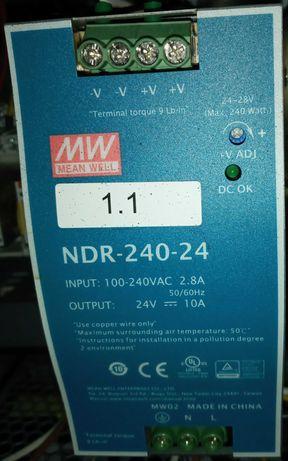 Источник питания NDR-240-24. Блок питания 24 вольта 10 ампер на DIN.