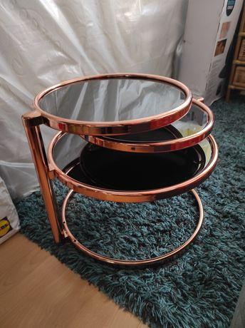 Stolik rozkładany miedziany DECO