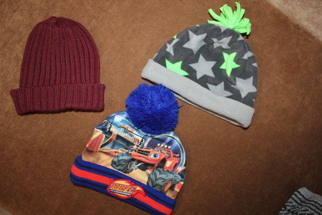 шапки на мальчика 3-4-5 лет бордовая серая синяя
