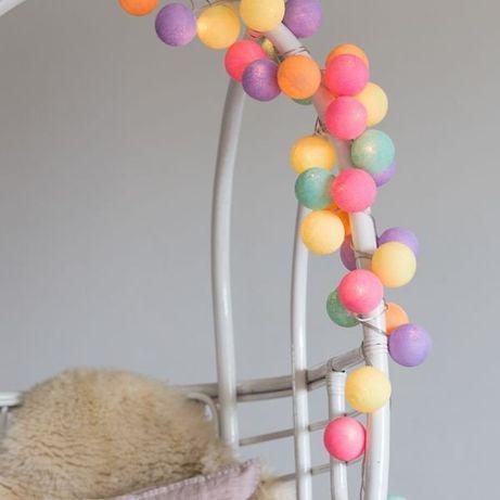 Тайская гирлянда 10 лампочек из ниточных шариков ручной работы 220/бат