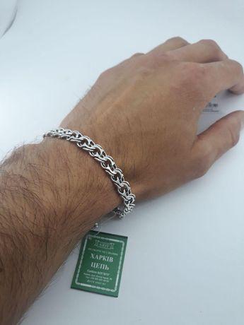 АКЦИЯ Серебряный мужской браслет цепочка бисмарк Серебро 925 проба
