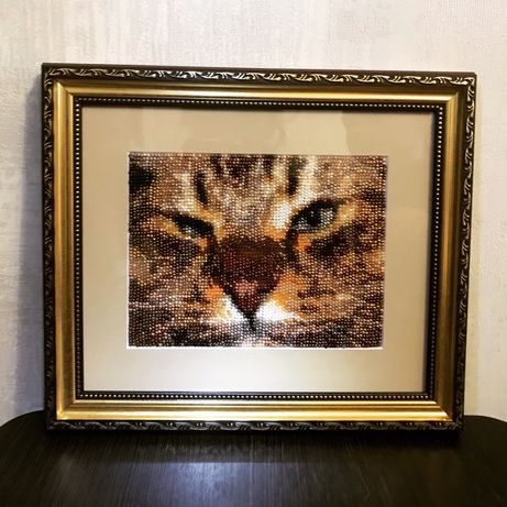 Картина из бисера,кот