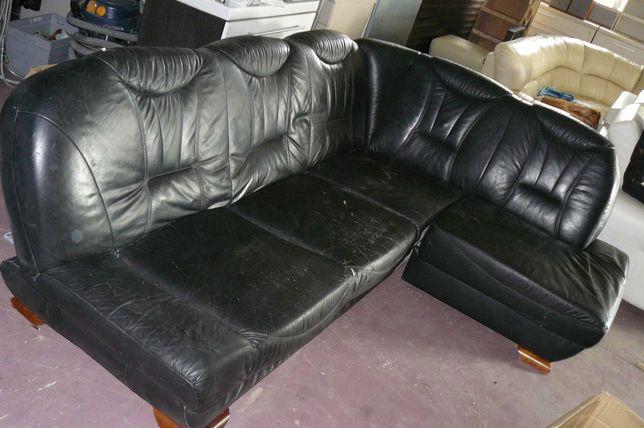 Narożnik skora skórzany naturalna czarny do kotłowni garażu  działka