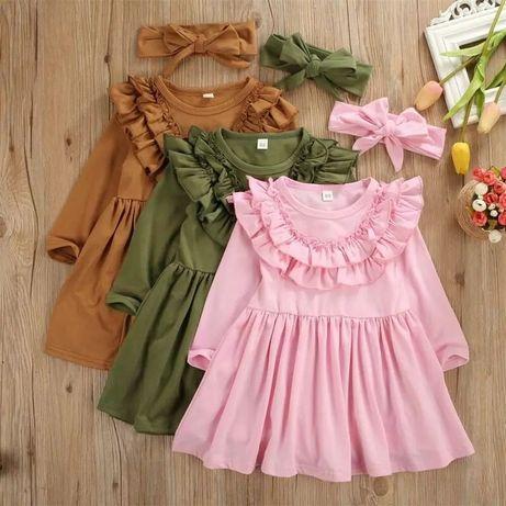R 110 116 nowa różowa sukienka z falbankami