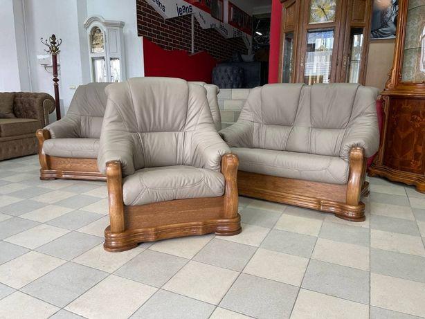 Новый кожаный комплект шкіряний диван новая мебель