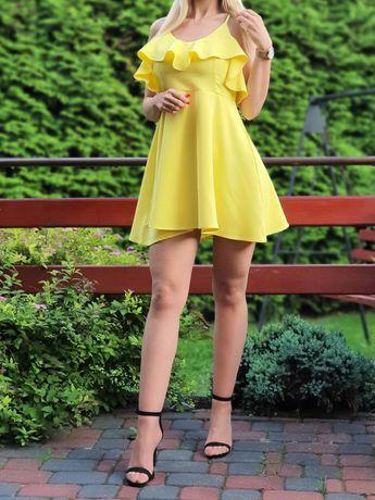 Sukienka Meribeleu żółta krótka wiosenna rozmiar M Nowa super jakość