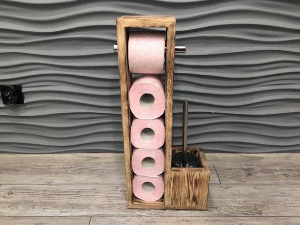 Stojak z drewna rustykalny na papier toaletowy 5-rolkowy +szczotka WC
