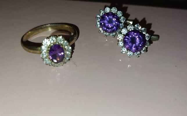 Серебряный набор серебряные серьги кольцо