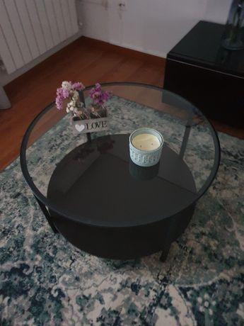 Mesa de centro  redonda com tampo em vidro