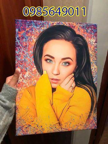 ТОП картина по фотографии портрету на холсте полотне рисунок 40х60см