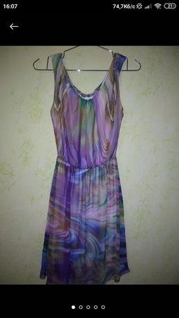 Яркое летнее шифоновое платье разлетайка