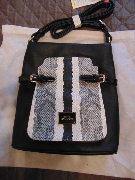 Czarna torebka z wężowym wzorem na długim pasku Monnari