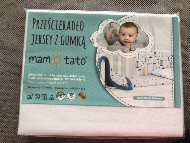 Mamo- Tato prześcieradło jersey bawełniane do łóżeczka 60/120