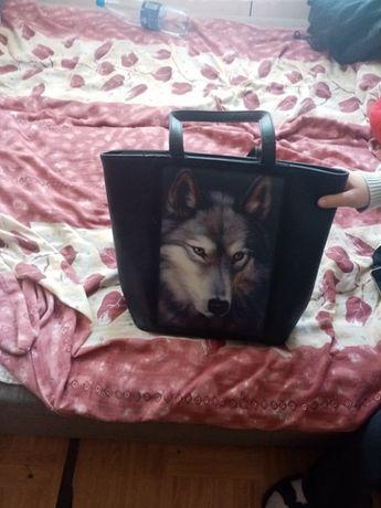 Torebka ze zdjęciem wilka   buty