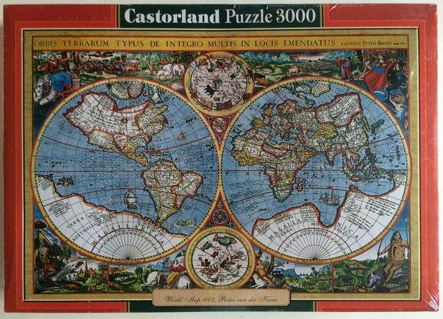 Podzielone na pół Puzzle Castorland 3000 Mapa 1607 2 x 1500