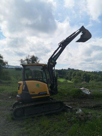 Wynajem maszyn budowlanych koparek gosienicowych 5 T do 48 T JCB Volvo