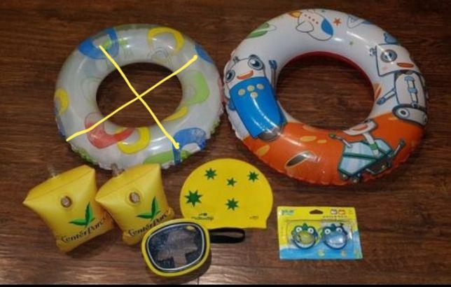 Zestaw zabawek do wody czepek, okulary, maska, koła