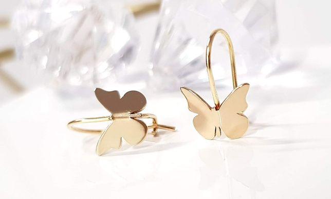 Złote kolczyki dla dziewczynki, motylek Próba 585