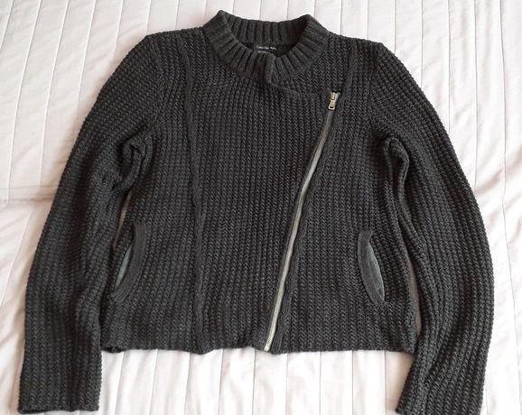CALVIN KLEIN sweter damski szary o kroju ramoneski r.L/G
