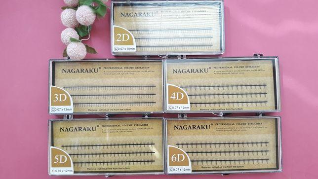 Пучки для наращивания ресниц Nagaraku , 2 д, 3д, 4д , 5 д,6 д