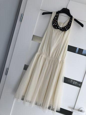 Nowa elegancka sukienka XS z kolnierzykiem