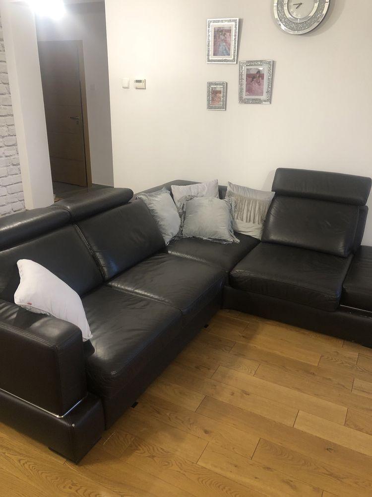Narożnik kanapa sofa czarna skórzana